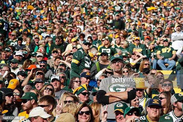 Fans watch the NFL game between the Green Bay Packers and the Detroit Lions at Lambeau Field on November 15 2015 in Green Bay Wisconsin