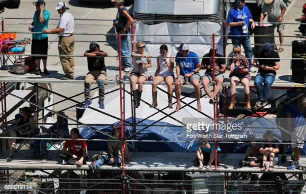 NASCAR fans watch the O'Reilly Auto Parts 500 from turn one on Sunday April 9 2017 at Texas Motor Speedway in Fort Worth Texas