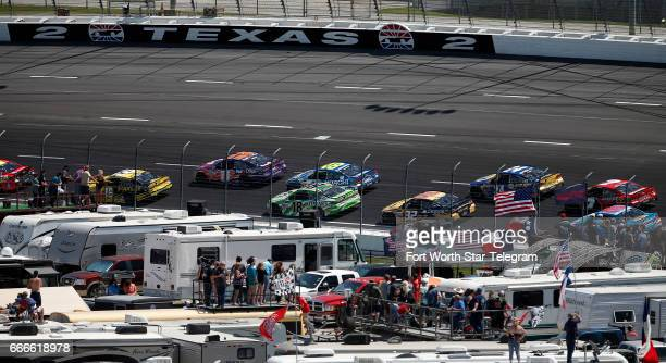 NASCAR fans watch the O'Reilly Auto Parts 500 from turn two on Sunday April 9 2017 at Texas Motor Speedway in Fort Worth Texas