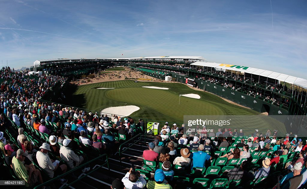 Fans watch the play on the 16th hole during the proam prior to the start of the Waste Management Phoenix Open at TPC Scottsdale on January 28 2015 in...
