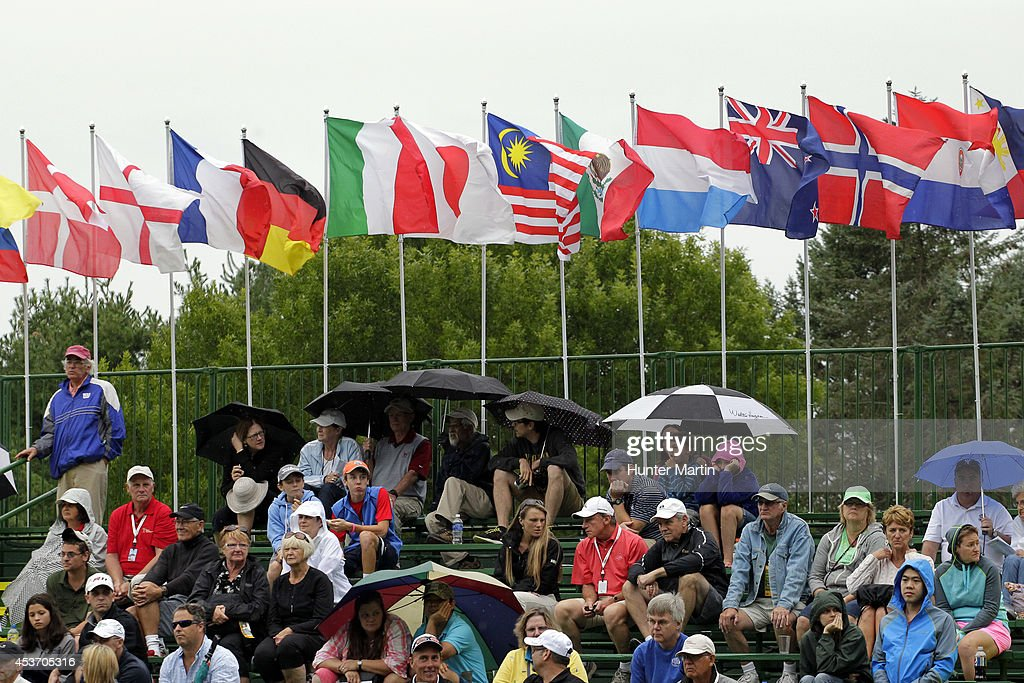 Fans watch the play on the ninth hole during the third round of the Wegmans LPGA Championship at Monroe Golf Club on August 16, 2014 in Pittsford, New York.