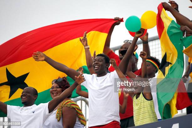 fans watch the pregame action before an international friendly between USA and Ghana at Pratt Whitney Stadium on July 1 2017 in East Hartford...