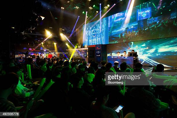 Fans watch the second round of the StarCraft II 2015 ProLeague tournament in Seoul South Korea on Tuesday Sept 29 2015 Video game competitions known...