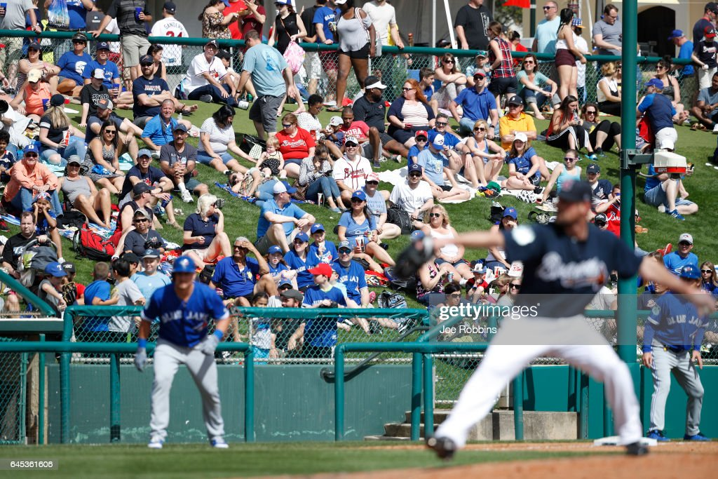 Fans watch the spring training game at Champion Stadium on February 25, 2017 in Lake Buena Vista, Florida. The Braves defeated the Blue Jays 7-4.
