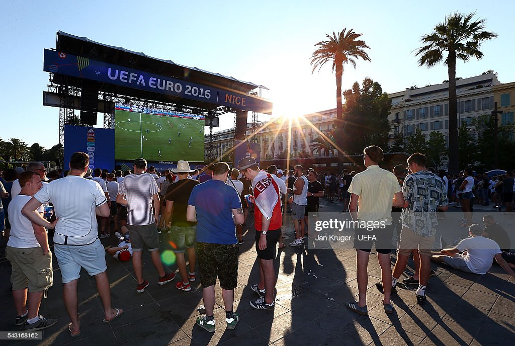 Fans watch the UEFA Euro 2016 round of 16 match between Germany and Slovakia at the Fanzone on June 26, 2016 in Nice, France.