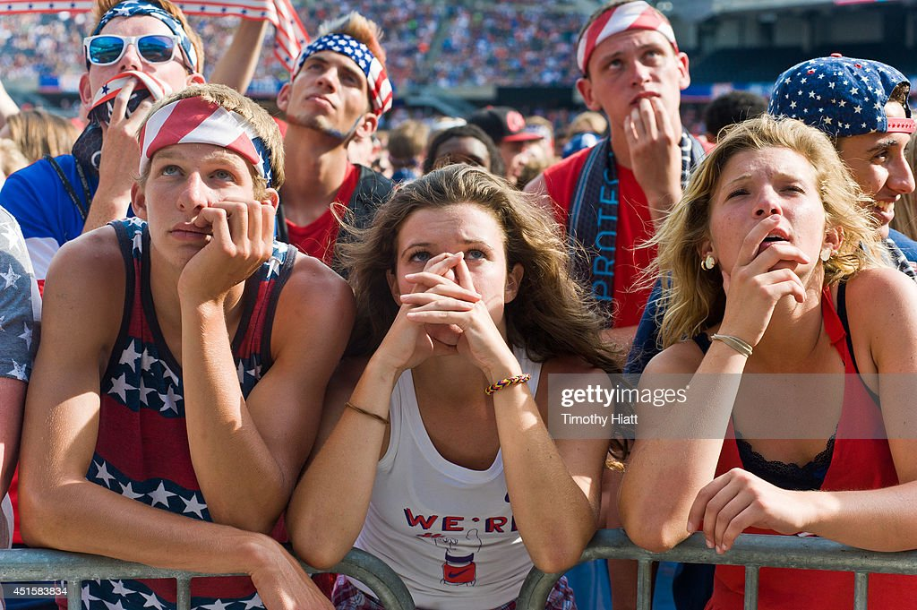 Fans watch the United States vs Belgium match during the World Cup at a viewing party at Soldier Field on July 1, 2014 in Chicago, Illinois.
