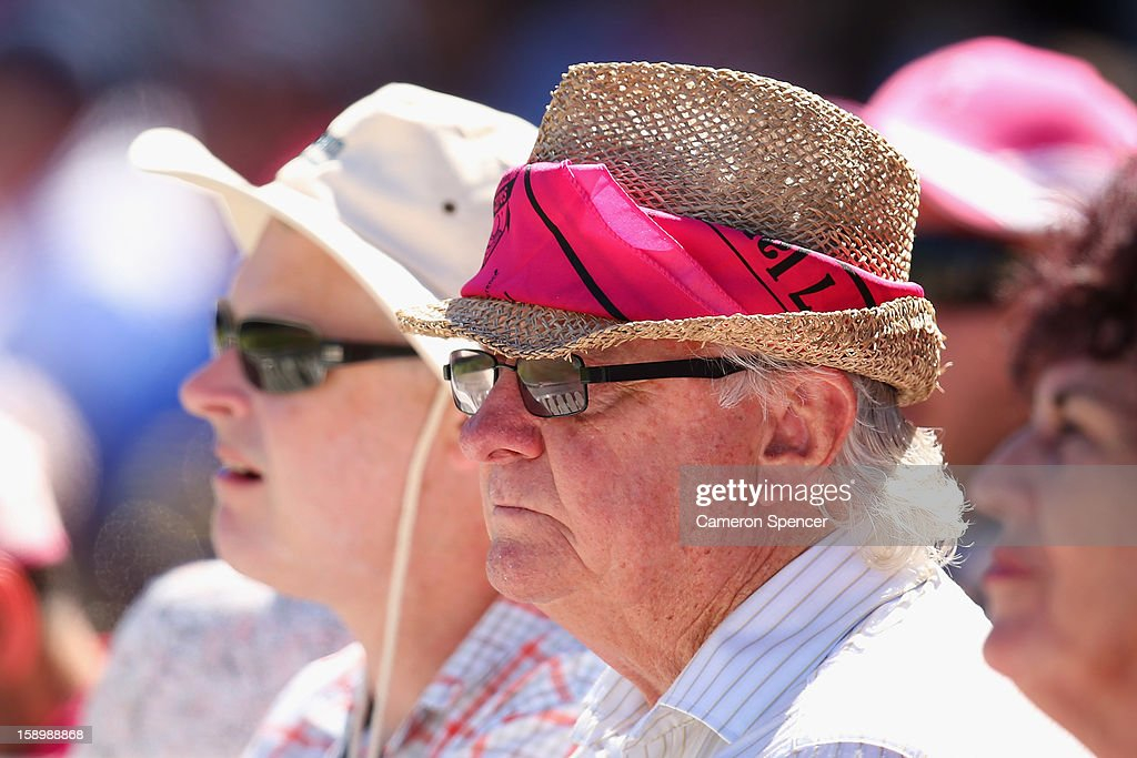 Fans wear pink on Jane McGrath Pink Day during day three of the Third Test match between Australia and Sri Lanka at Sydney Cricket Ground on January 5, 2013 in Sydney, Australia.