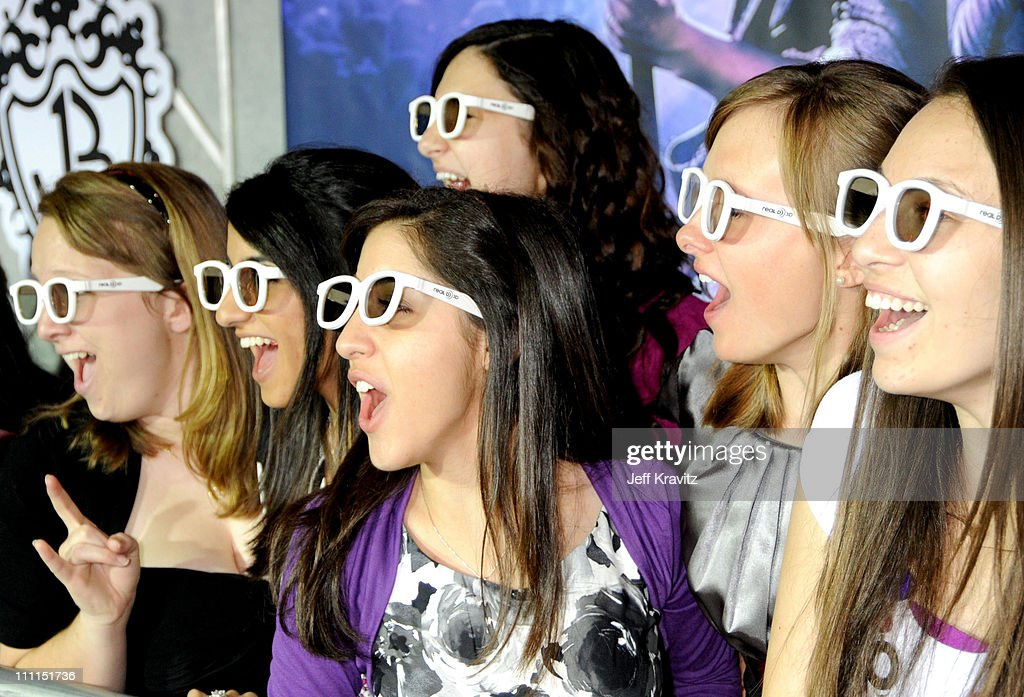 Fans wearing Real D Special Jonas Brothers Edition Glasses at the 'Jonas Brothers: 3D Concert Experience' Premiere at El Capitan Theatre on February 24, 2009 in Hollywood.