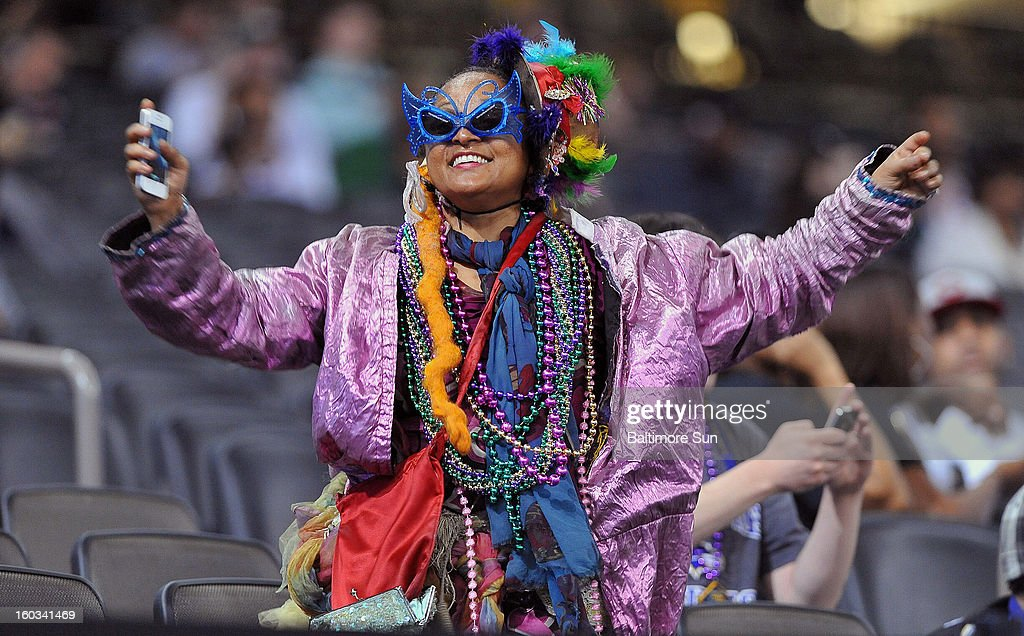 Fans were allowed in the stands during Media Day for a nominal charge, and this refugee from Mardi Gras was making sure she was being noticed during the Baltimore Ravens portion of Media Day at the Mercedes Benz Super Dome in New Orleans, Louisiana, Tuesday, January 29, 2013.