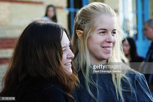 Fans with Elf ears arrive early at 'The Fellowship Festival 2004' aimed at J R R Tolkien fans at Alexandra Palace on August 28 2004 in London The...