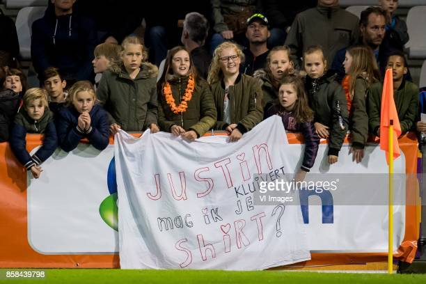 fans with sign justin kluivert mag ik je shirt during the EURO U21 2017 qualifying match between Netherlands U21 and Latvia U21 at the Vijverberg...