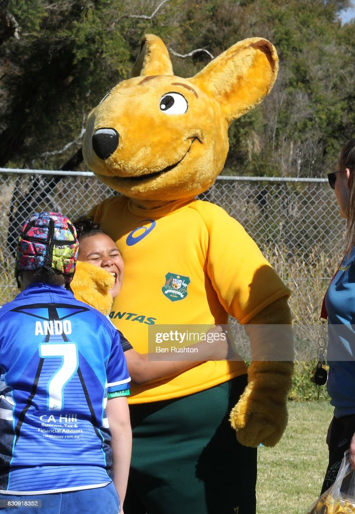 Fans with the mascot during an Australian Wallabies fan day on August 13, 2017 in Penrith, Australia.