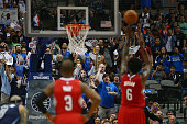 Fans yell as DeAndre Jordan of the Los Angeles Clippers takes a freethrow against the Dallas Mavericks in the first half at American Airlines Center...