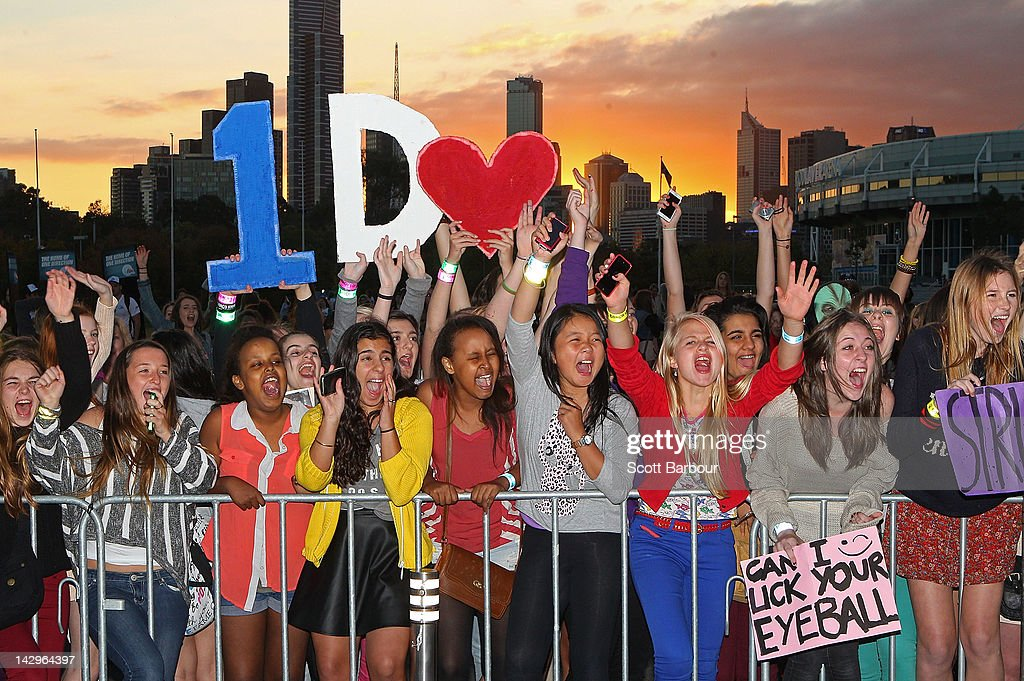 Fans yell as they wait for the gates to open outside of the One Direction concert at Hisense Arena on April 16, 2012 in Melbourne, Australia.