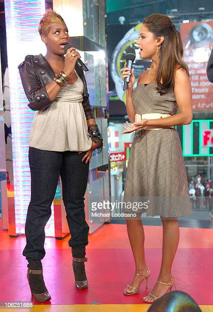Fantasia Barrino and MTV VJ Vanessa Minnillo during Fantasia and New Found Glory Visit MTV's 'TRL' December 14 2006 at MTV Studios Times Square in...