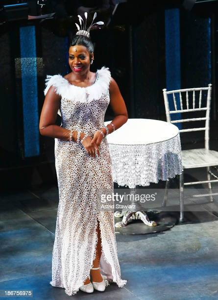 Fantasia Barrino performs at 'After Midnight' Broadway opening night curtain call at Brooks Atkinson Theatre on November 3 2013 in New York City