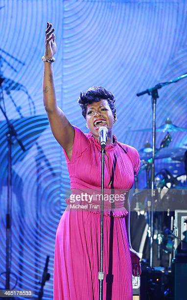 Fantasia Barrino performs onstage during the Clive Davis and The Recording Academy present The Annual PreGRAMMY Gala held at The Beverly Hilton Hotel...