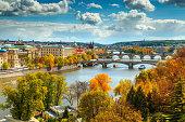 Wonderful autumn cityscape, Vltava river and old city center, Prague, Czech Republic, Europe