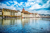 Fantastic Cityscape of old town Lucern and the river Reuss
