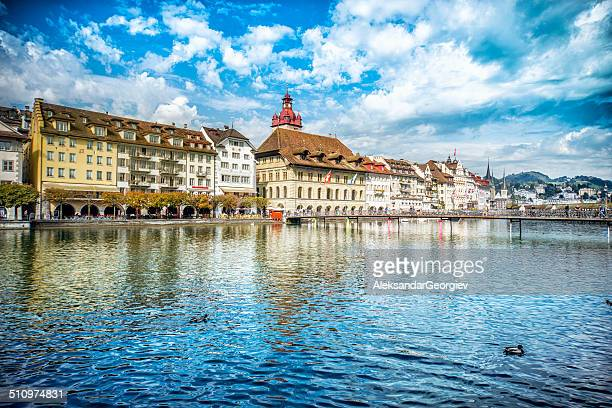 Fantastic Cityscape of old town Lucerne and the river Reuss
