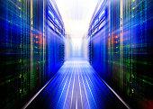 symmetrical data center room with futuristic beams and rows equipmentsymmetrical data center room with futuristic beams and rows equipment