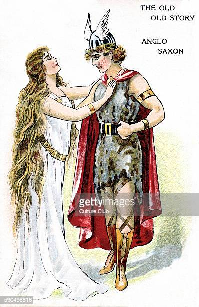 Fantastical illustration of an Anglo Saxon warrior wearing a winged helmet cape and fur dress A woman in a flowing dress adjusts the clasp of the...