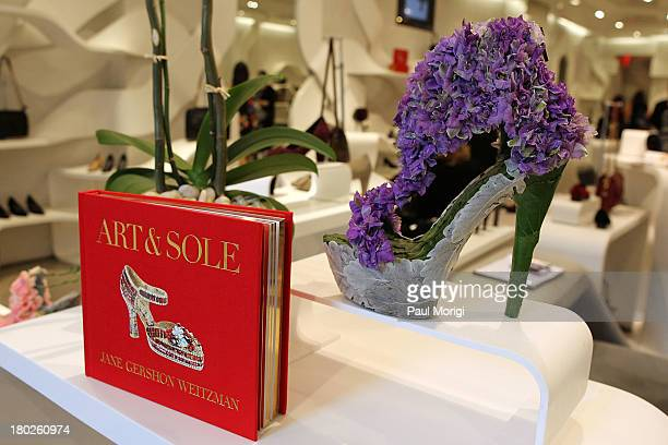 Fantasy art shoe by artist Jane Carroll at the 'Art Sole' by Jane Weitzman book launch at the Stuart Weitzman Boutique on September 10 2013 in New...