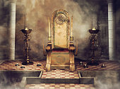 Fantasy throne with Celtic ornaments in an old castle with burners and candles. 3D render.