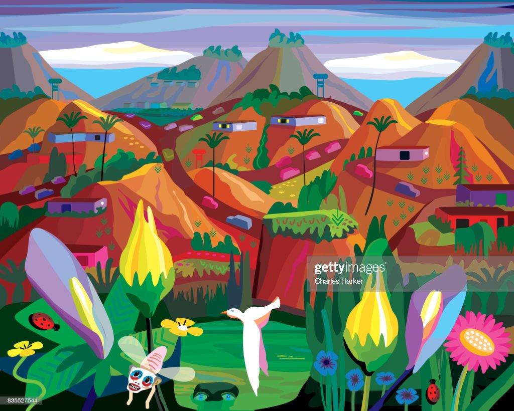 Fantasy Folk Art Landscape Illustration : Stock Photo