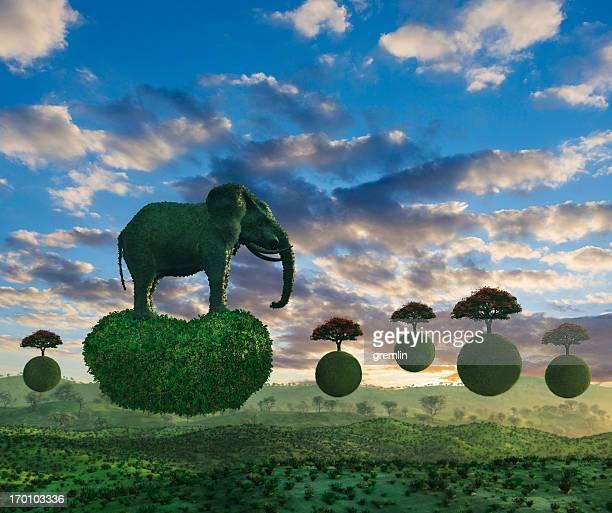 Fantasy landscape with flying elephant on mini tree islands