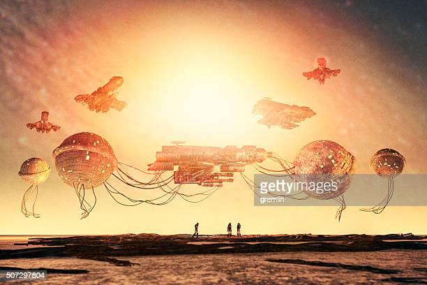 Fantasie Steampunk Raumschiff in Flicken-Dockingstation