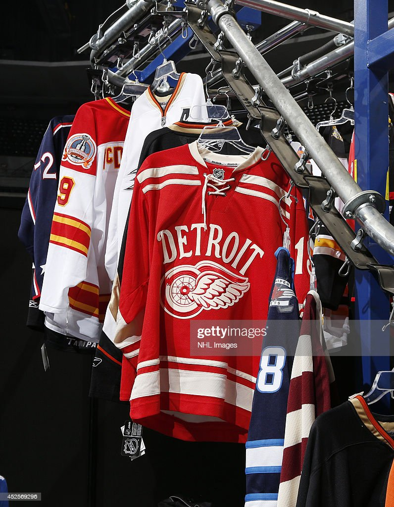 Fanzones.com shows it's custom jerseys at the 2014 NHL Exchange at Pepsi Center on July 23, 2014, in Denver, Colorado.