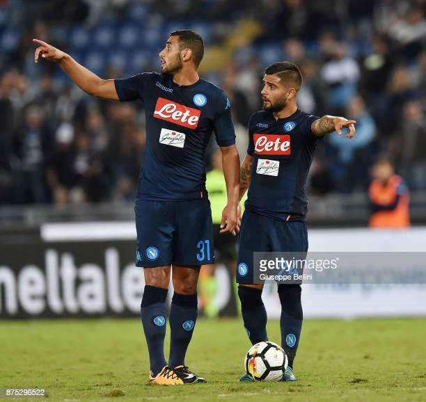 Faouzi Ghoulam and Lorenzo Insigne of SSC Napoli in action during the Serie A match between SS Lazio and SSC Napoli at Stadio Olimpico on September...