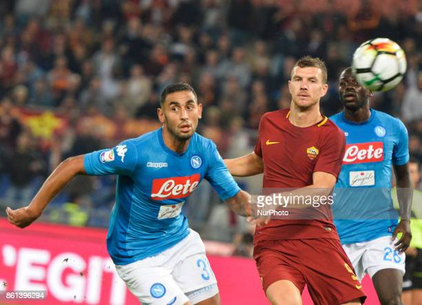 Faouzi Ghoulam Edin Dzeko during the Italian Serie A football match between AS Roma and SSC Napoli at the Olympic Stadium in Rome on october 14 2017