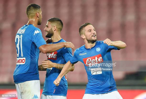 Faouzi Ghoulam Lorenzo Insigne and Dries Mertens of SSC Napoli celebrate the 10 goal scored by Dries Mertens during the preseason friendly match...
