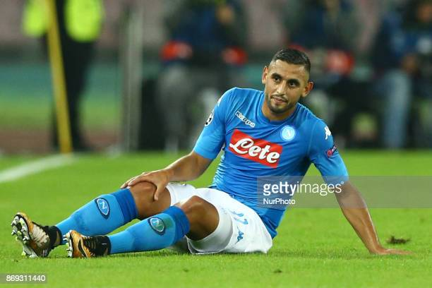 Faouzi Ghoulam of Napoli after suffering a knee injury during the UEFA Champions League football match Napoli vs Manchester City on November 1 2017...