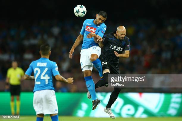 Faouzi Ghoulam of Napoli and Cristophe Jallet of Nice during the UEFA Champions League Play Off first leg football match SSC Napoli vs OCG Nice on...