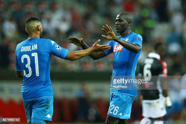 Faouzi Ghoulam of Napoli and Kalidou Koulibaly of Napoli celebrating after the UEFA Champions League playoff football match between Nice and Napoli...
