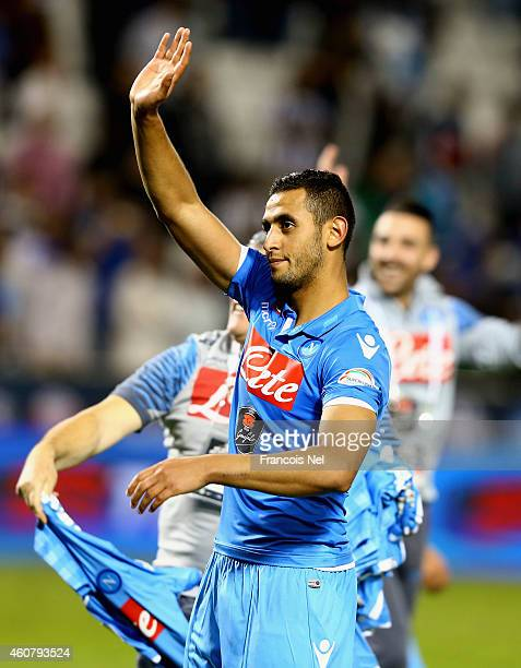 Faouzi Ghoulam of Napoli celebrates after winning the 2014 Italian Super Cup match between Juventus FC v SSC Napoli at the Jassim Bin Hamad Stadium...