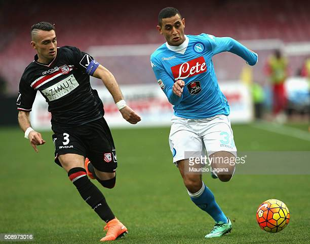 Faouzi Ghoulam of Napoli competes for the ball with Gaetano Letizia of Carpi during the Serie A match between SSC Napoli and Carpi FC at Stadio San...