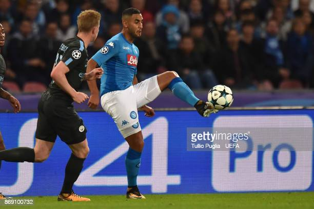 Faouzi Ghoulam of Napoli controls the ball as Kevin De Bruyne of Manchester City tackles during the UEFA Champions League group F match between SSC...