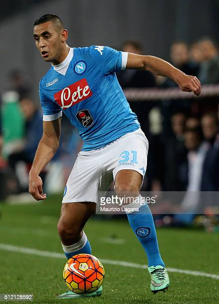 Faouzi Ghoulam of Napoli during the Serie A between SSC Napoli and AC Milan at Stadio San Paolo on February 22 2016 in Naples Italy