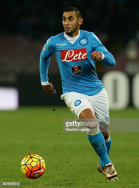 Faouzi Ghoulam of Napoli during the Serie A match betweeen SSC Napoli and AS Roma at Stadio San Paolo on December 13 2015 in Naples Italy