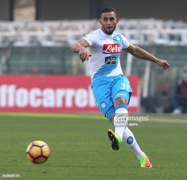 Faouzi Ghoulam of Napoli during the Serie A match between AC ChievoVerona and SSC Napoli at Stadio Marc'Antonio Bentegodi on February 19 2017 in...