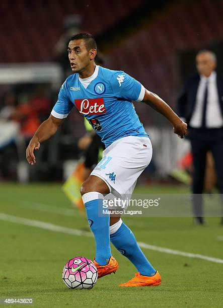 Faouzi Ghoulam of Napoli during the Serie A match between SSC Napoli and SS Lazio at Stadio San Paolo on September 20 2015 in Naples Italy
