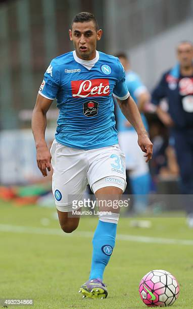 Faouzi Ghoulam of Napoli during the Serie A match between SSC Napoli and ACF Fiorentina at Stadio San Paolo on October 18 2015 in Naples Italy