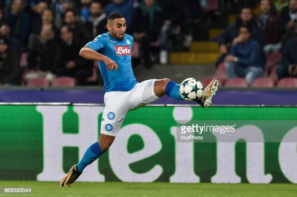 Faouzi Ghoulam of Napoli during the UEFA Champions League match between Napoli v Manchester City at San Paolo Stadium Naples Italy on 1 November 2017
