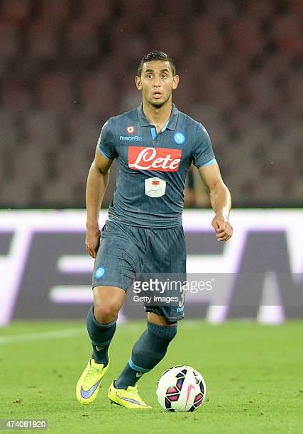 Faouzi Ghoulam of Napoli in action during the Serie A match between SSC Napoli AC Cesena at Stadio San Paolo on May 18 2015 in Naples Italy