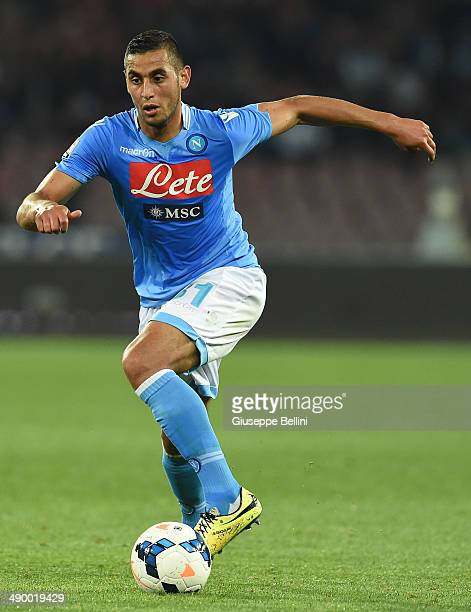 Faouzi Ghoulam of Napoli in action during the Serie A match between SSC Napoli and Cagliari Calcio at Stadio San Paolo on May 6 2014 in Naples Italy