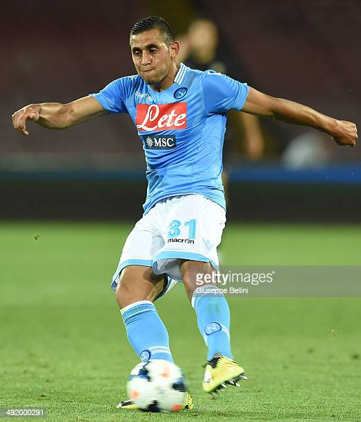 Faouzi Ghoulam of Napoli in action during the Serie A match between SSC Napoli and Hellas Verona FC at Stadio San Paolo on May 18 2014 in Naples Italy